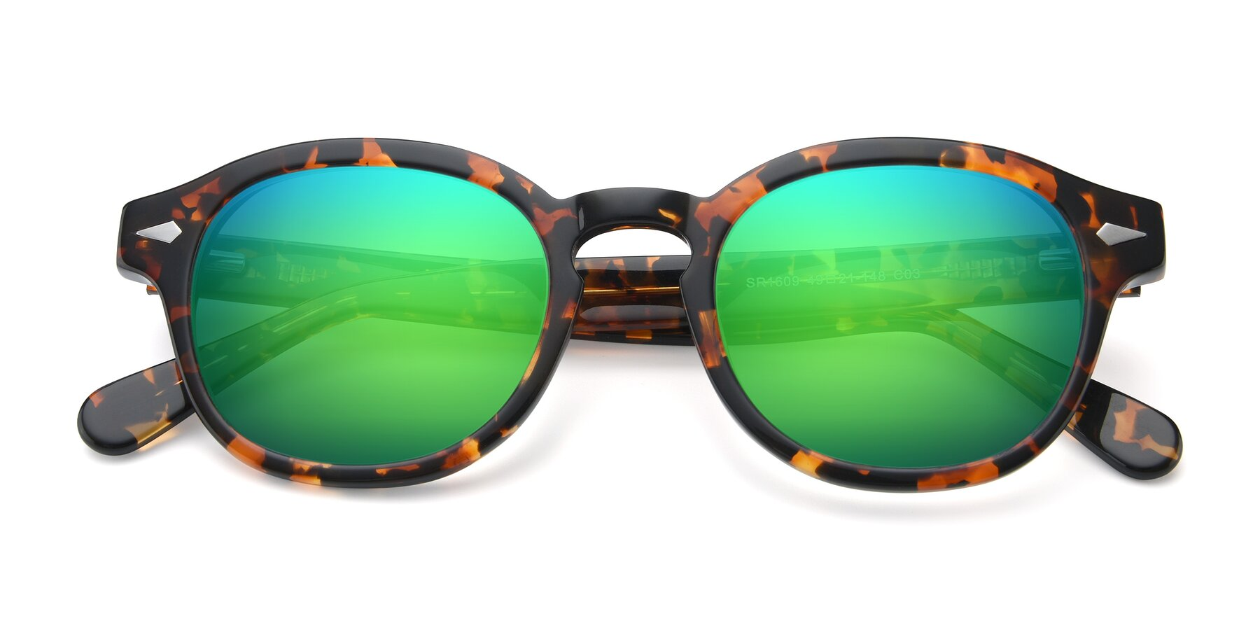 Folded Front of SR1609 in Tortoise with Green Mirrored Lenses