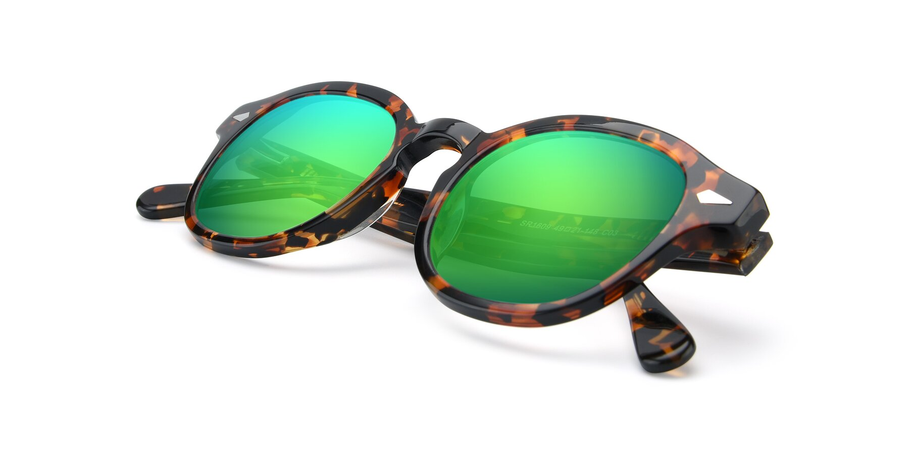 View of SR1609 in Tortoise with Green Mirrored Lenses