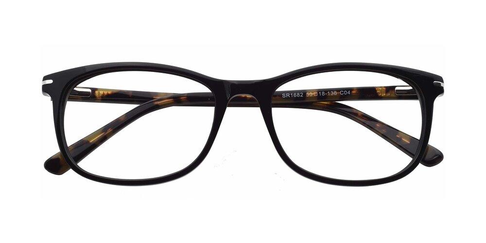 Black-Tortoise Wayfarer Spring Hinges Acetate Rectangle Anti-Blue Light Glasses