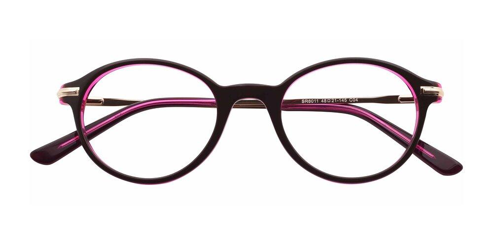Milk Chocolate Retro-Vintage Acetate Round Full-Rim Eyeglasses