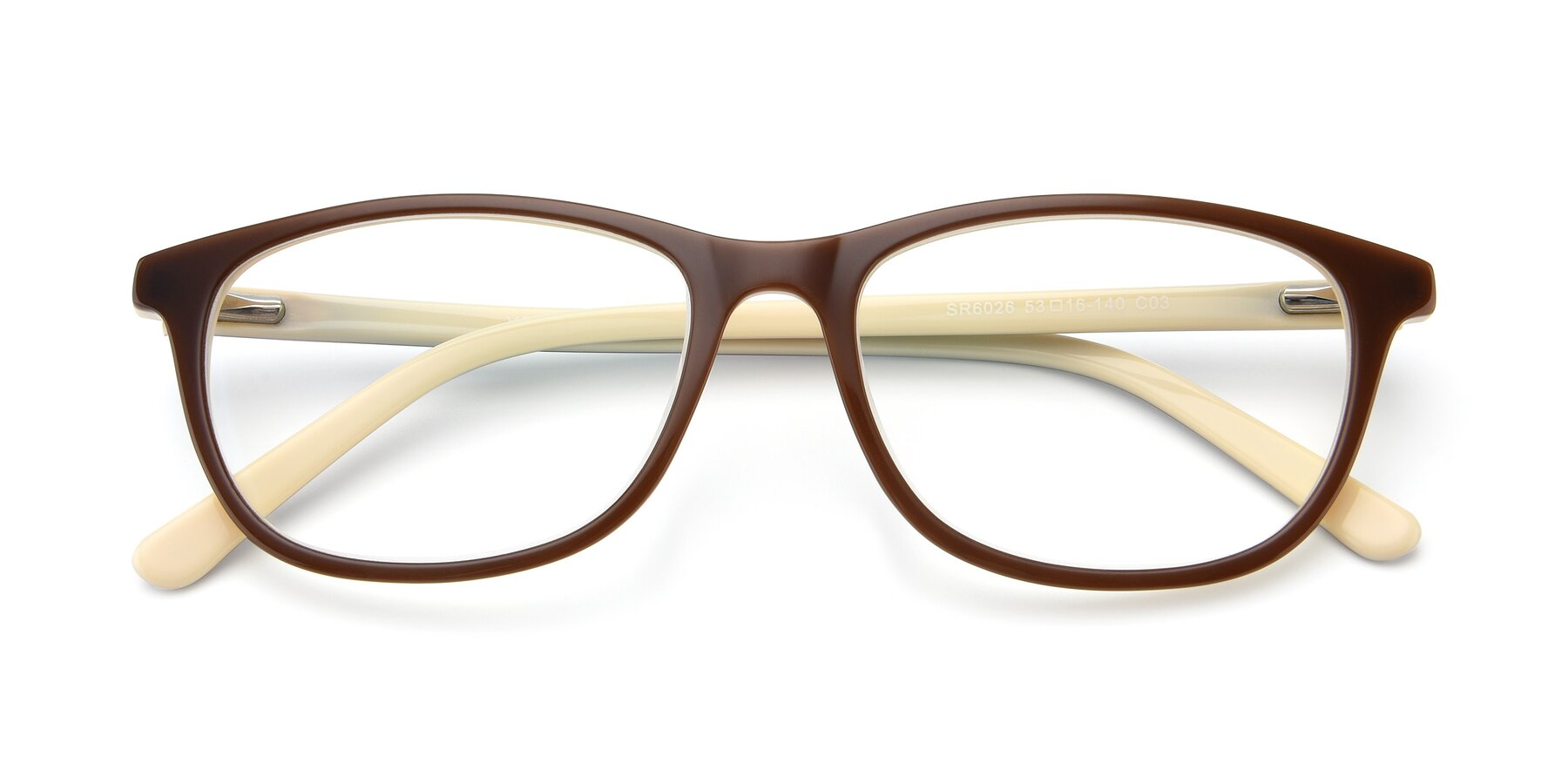 Folded Front of SR6026 in Coffee with Clear Eyeglass Lenses