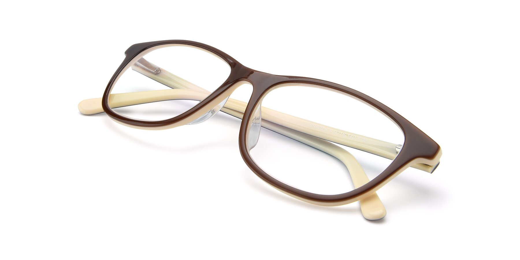 View of SR6026 in Coffee with Clear Eyeglass Lenses
