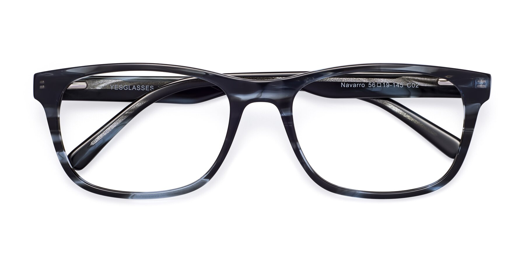 Folded Front of Navarro in Blue-Tortoise with Clear Eyeglass Lenses