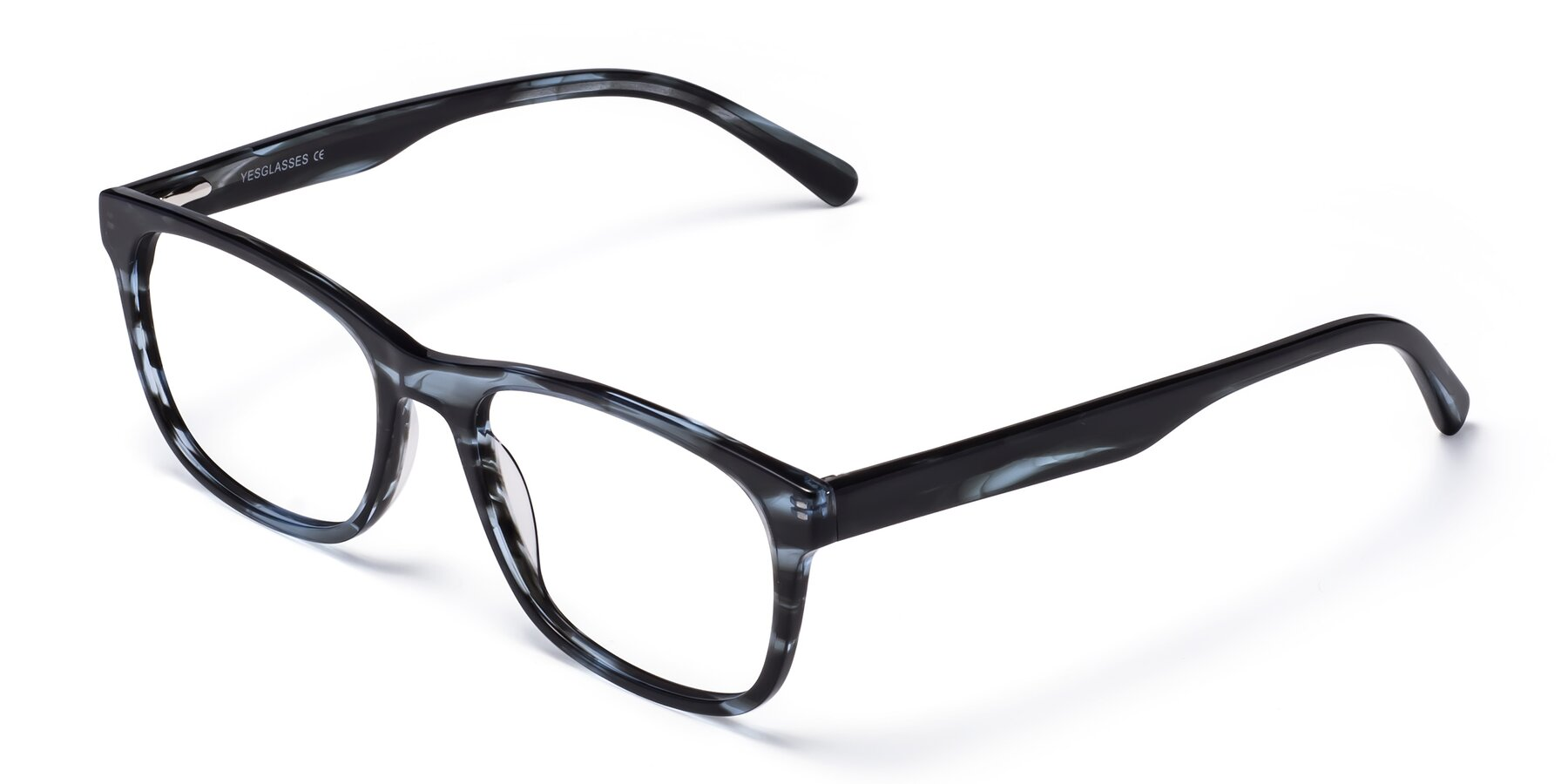 Angle of Navarro in Blue-Tortoise with Clear Eyeglass Lenses