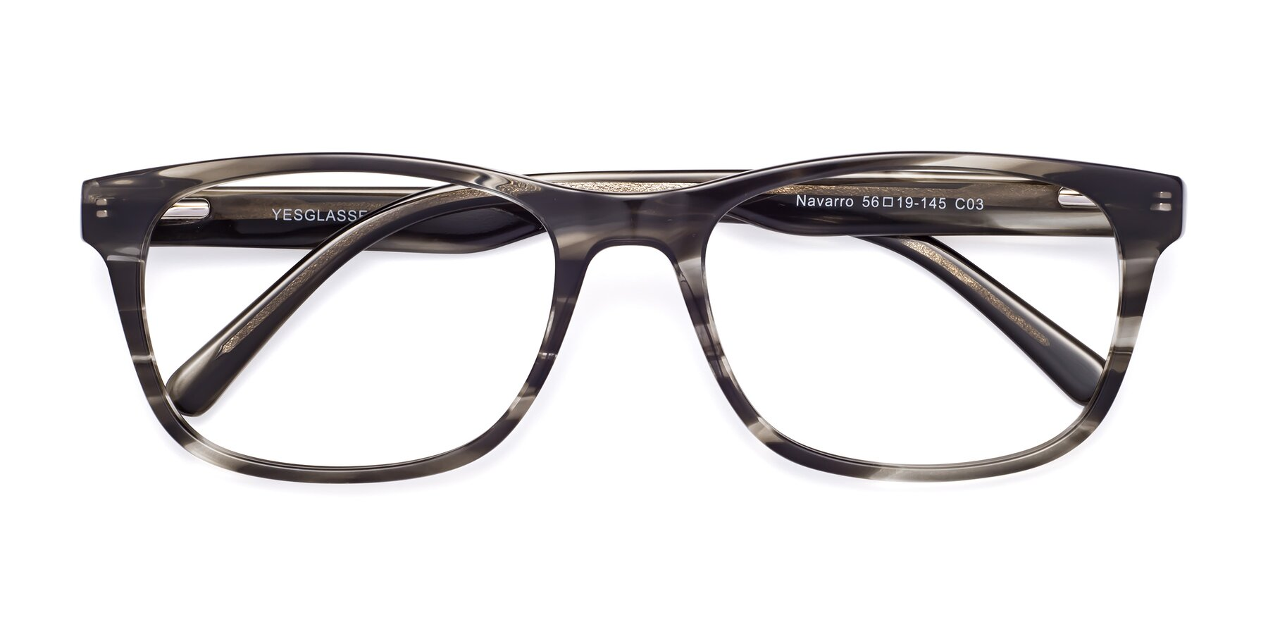 Folded Front of Navarro in Gray-Tortoise with Clear Eyeglass Lenses