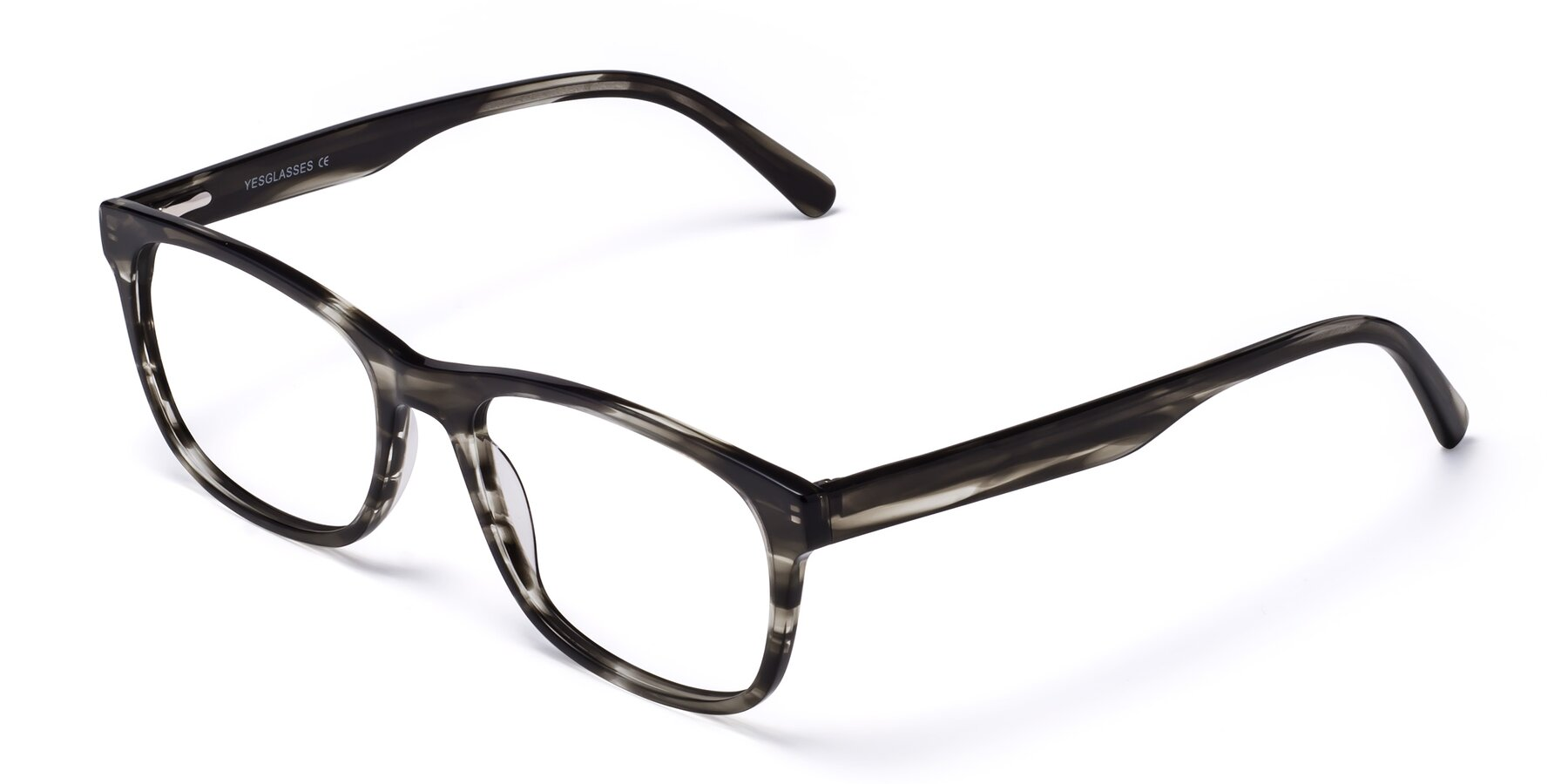 Angle of Navarro in Gray-Tortoise with Clear Eyeglass Lenses