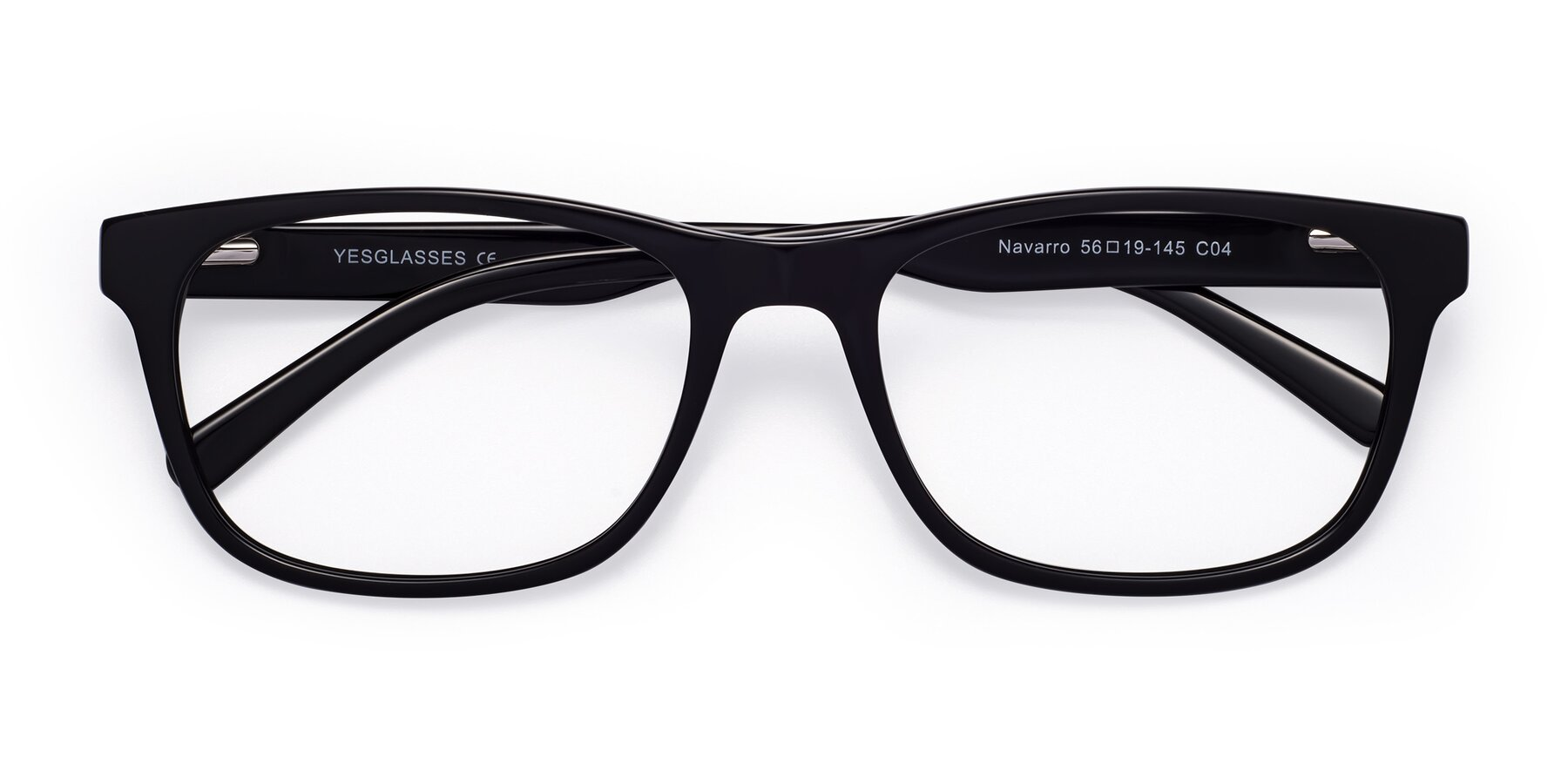 Folded Front of Navarro in Black with Clear Eyeglass Lenses