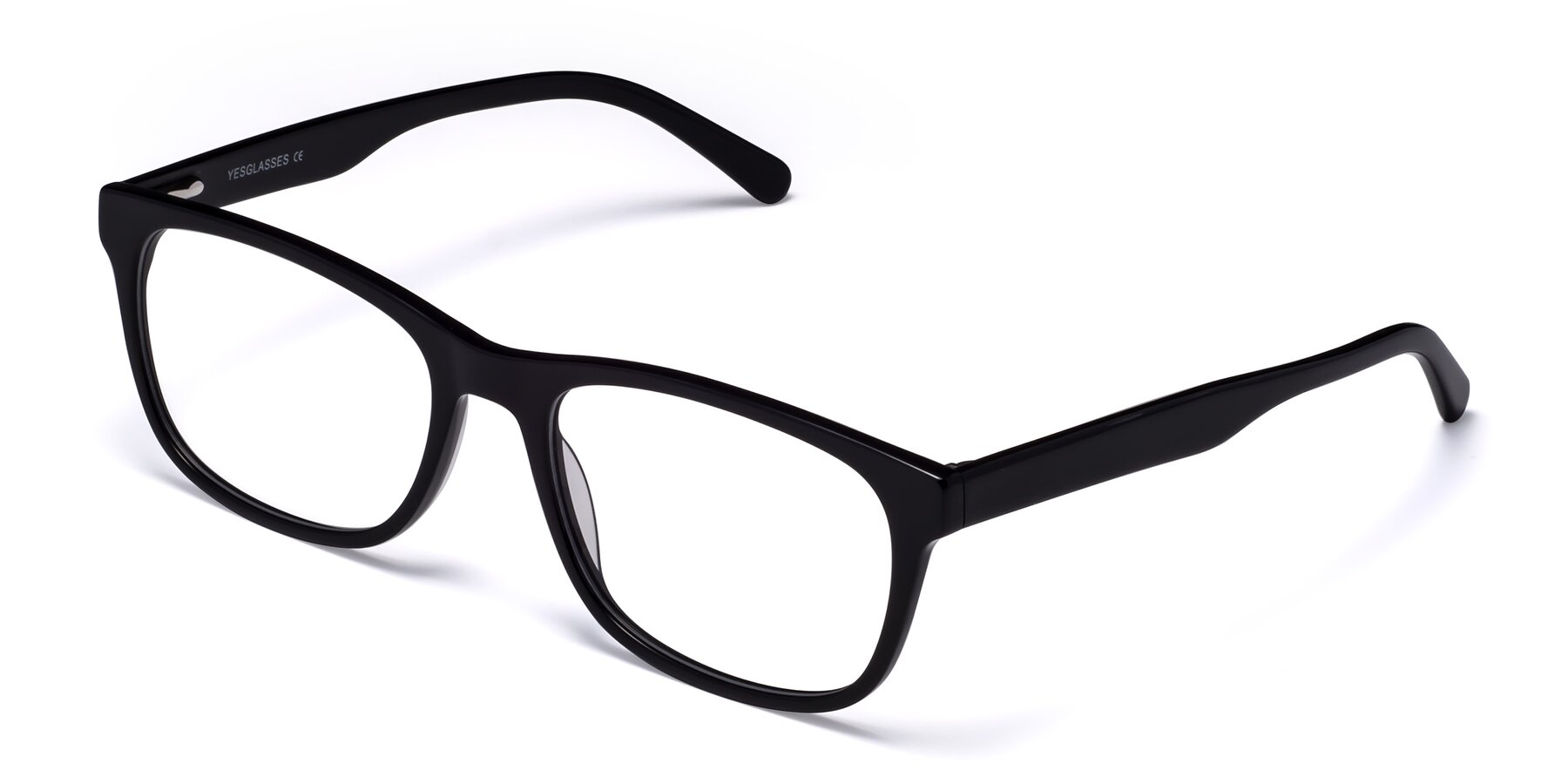 Angle of Navarro in Black with Clear Eyeglass Lenses