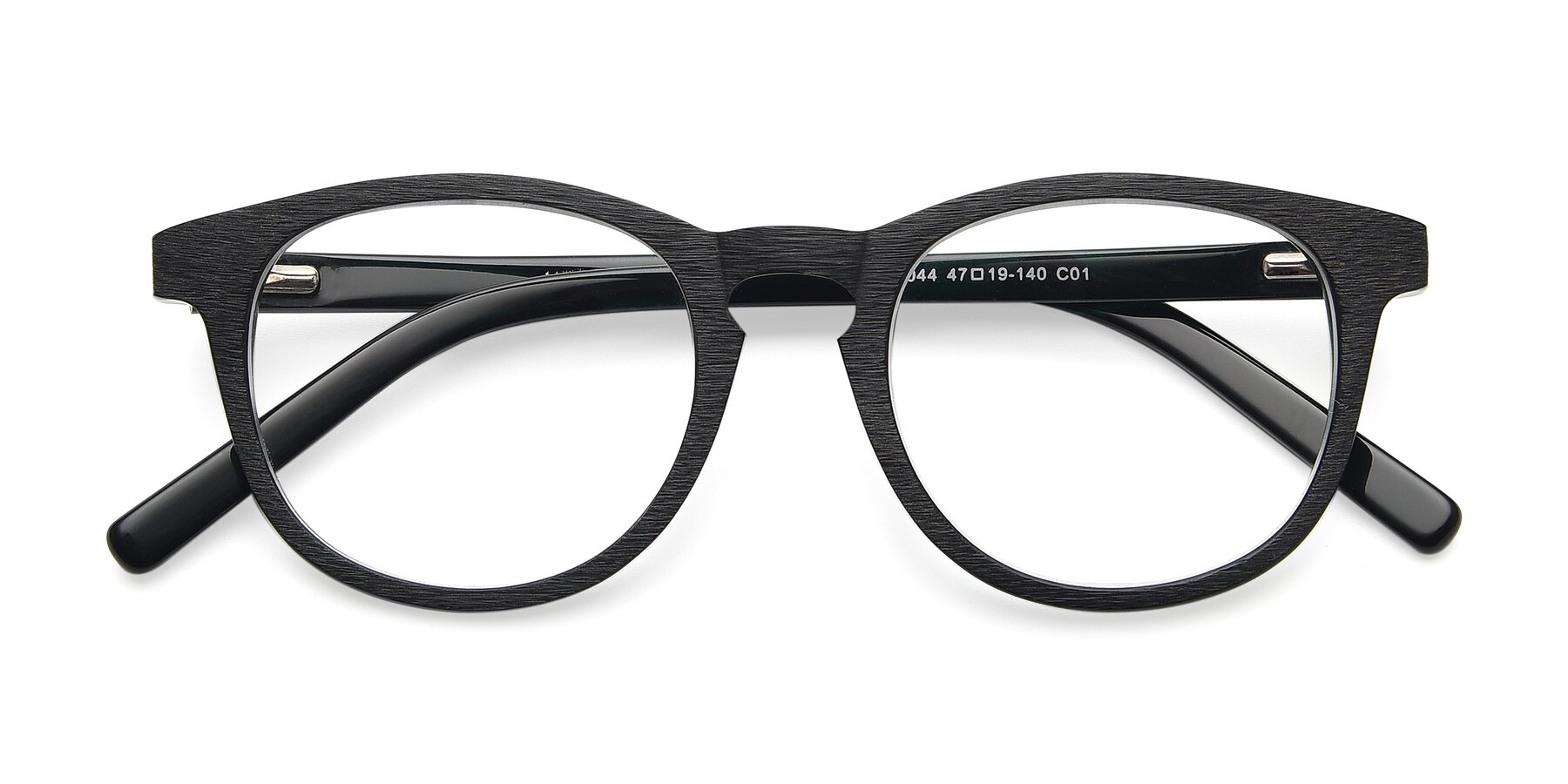 Folded Front of SR6044 in Black-Wooden with Clear Blue Light Blocking Lenses
