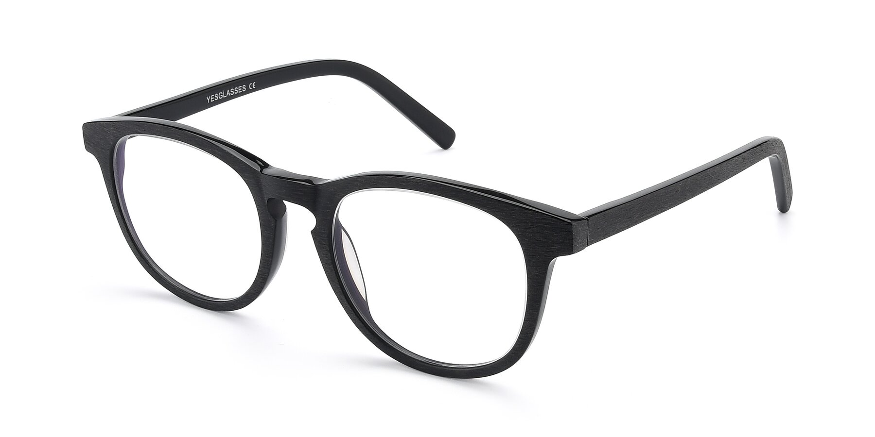 Angle of SR6044 in Black-Wooden with Clear Blue Light Blocking Lenses