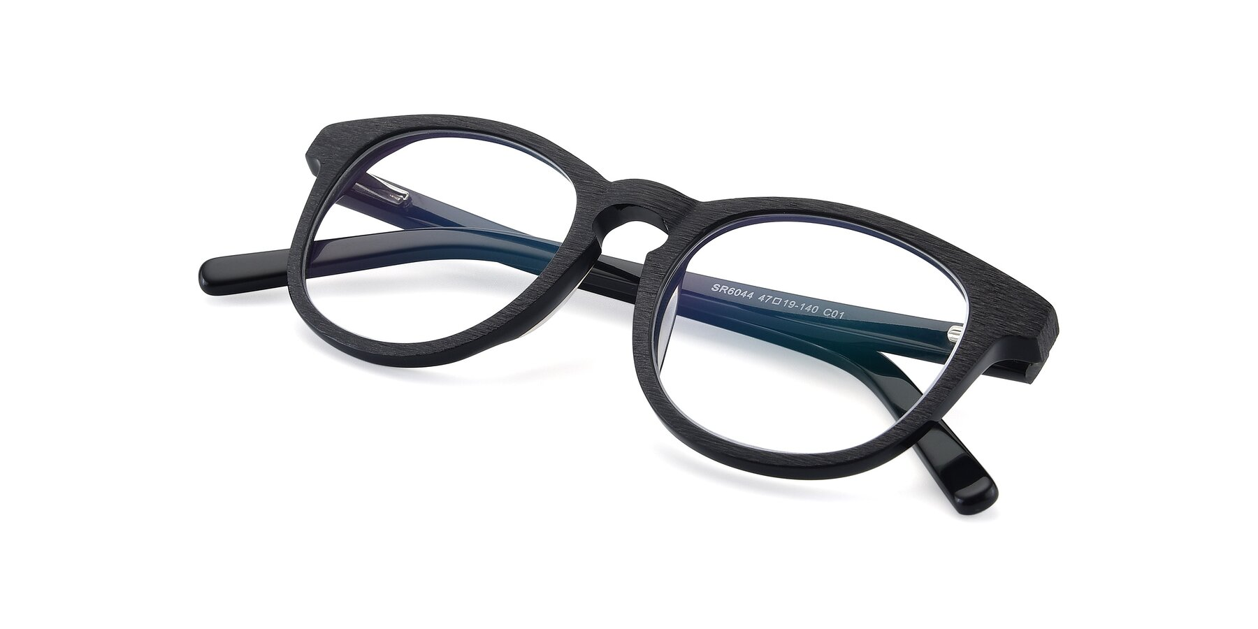 View of SR6044 in Black-Wooden with Clear Blue Light Blocking Lenses