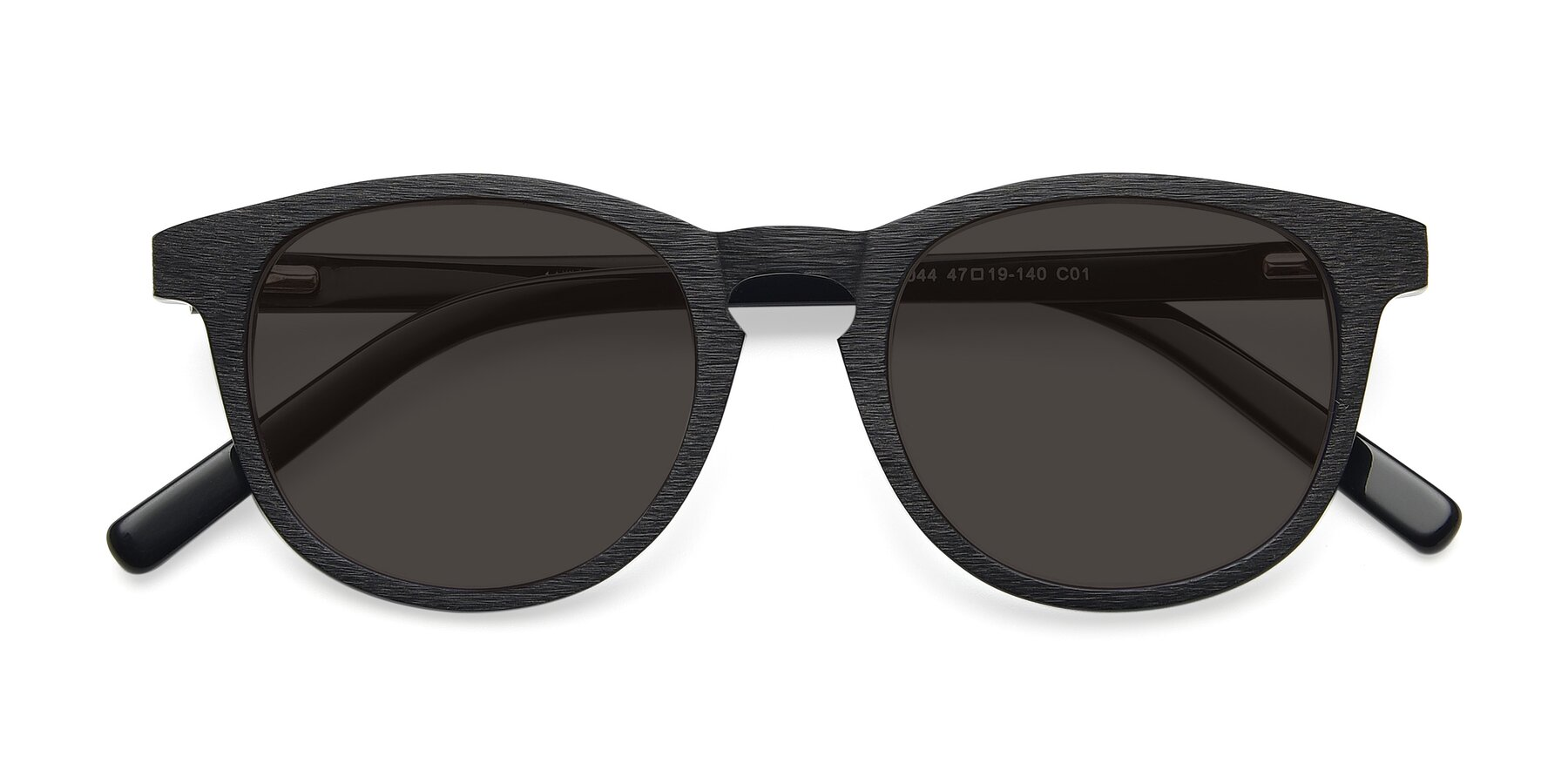 Folded Front of SR6044 in Black-Wooden with Gray Tinted Lenses