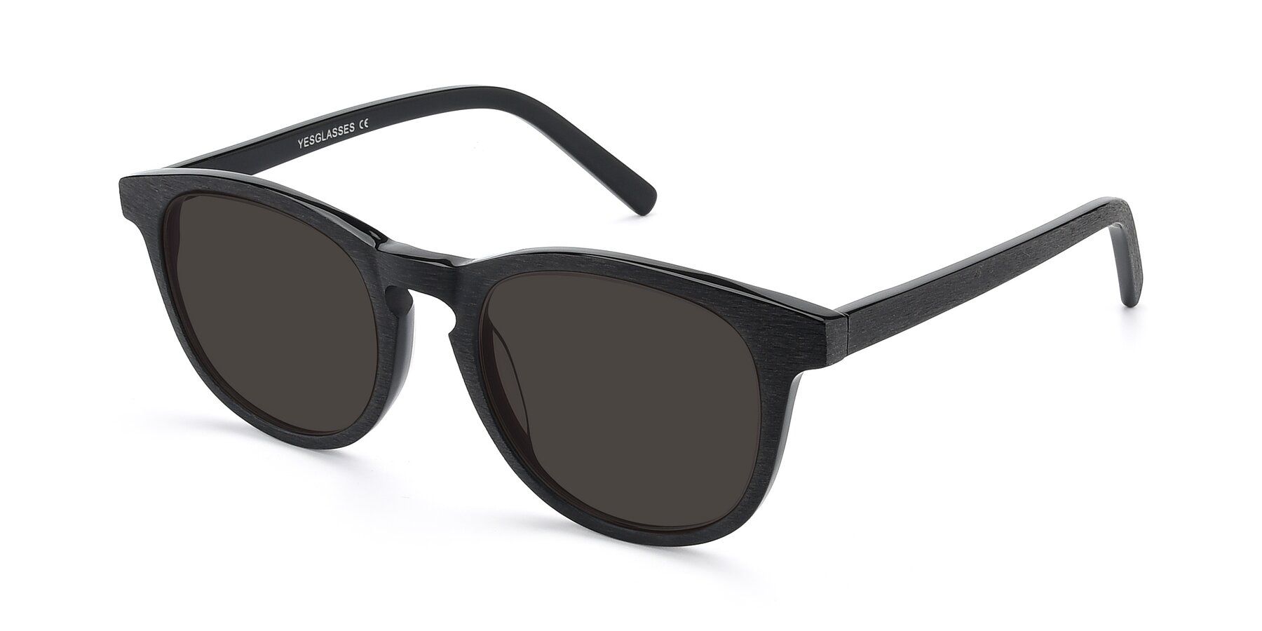Angle of SR6044 in Black-Wooden with Gray Tinted Lenses