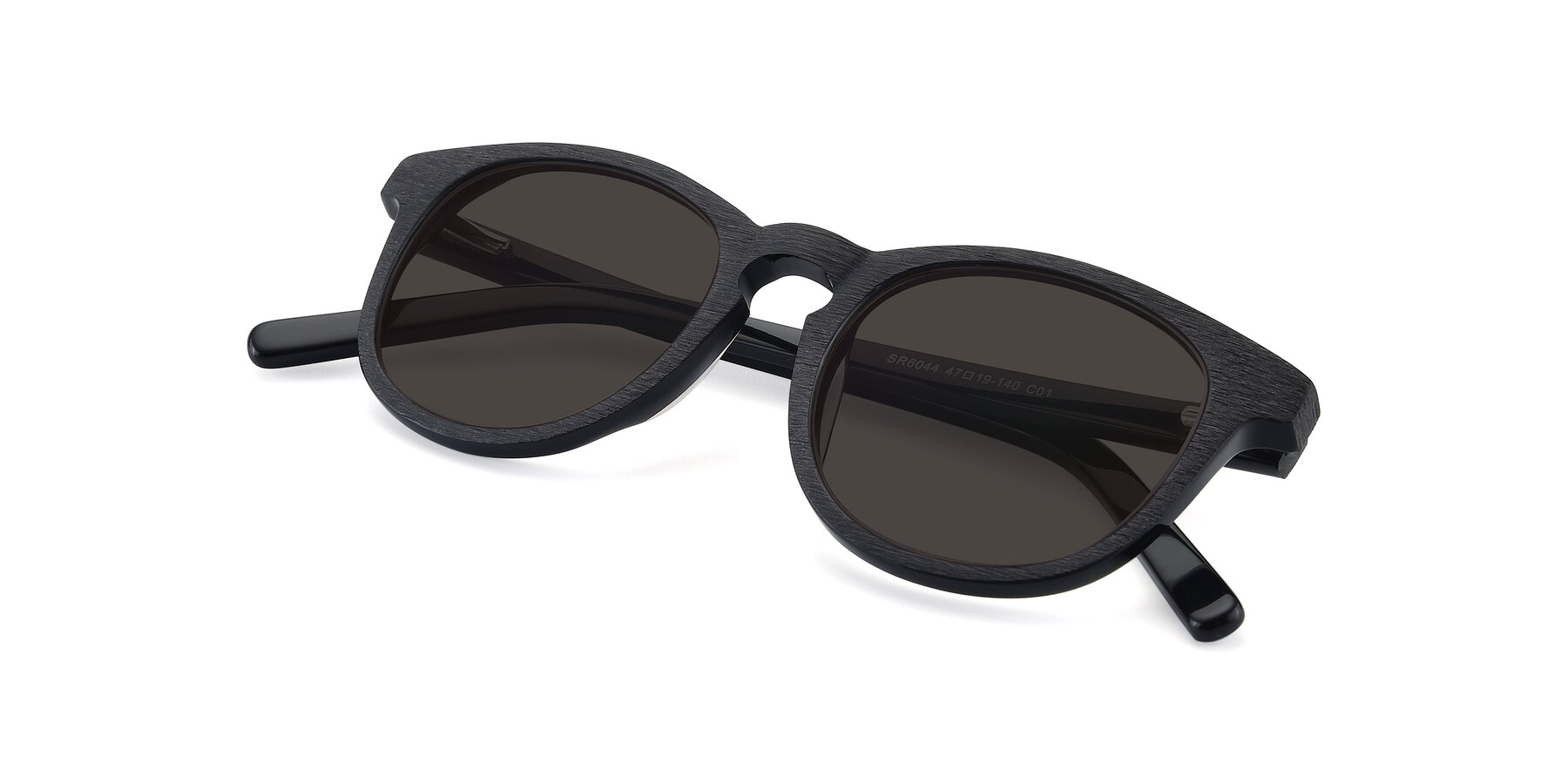 View of SR6044 in Black-Wooden with Gray Tinted Lenses