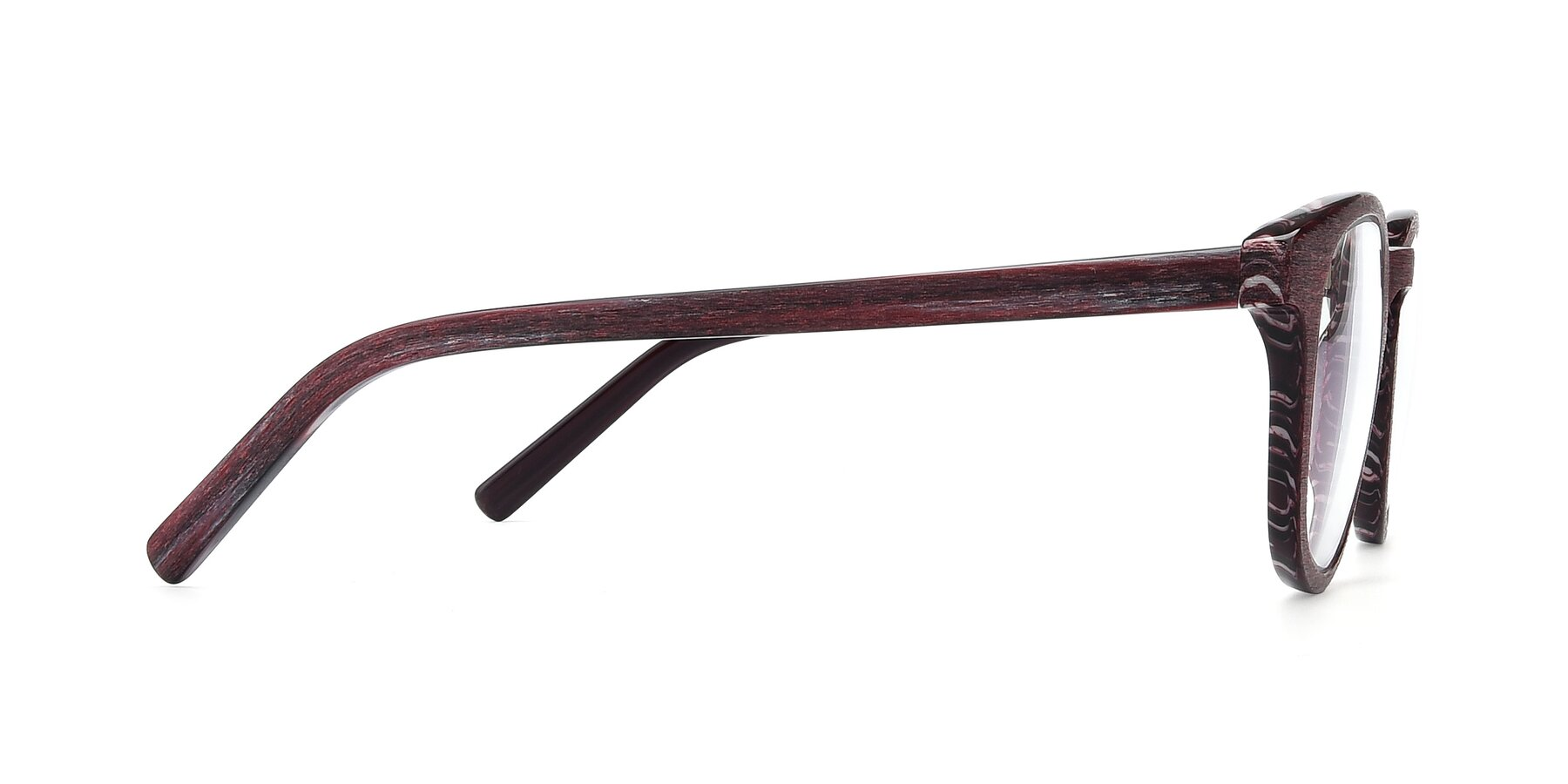 Side of SR6044 in Wine-Wooden with Clear Blue Light Blocking Lenses
