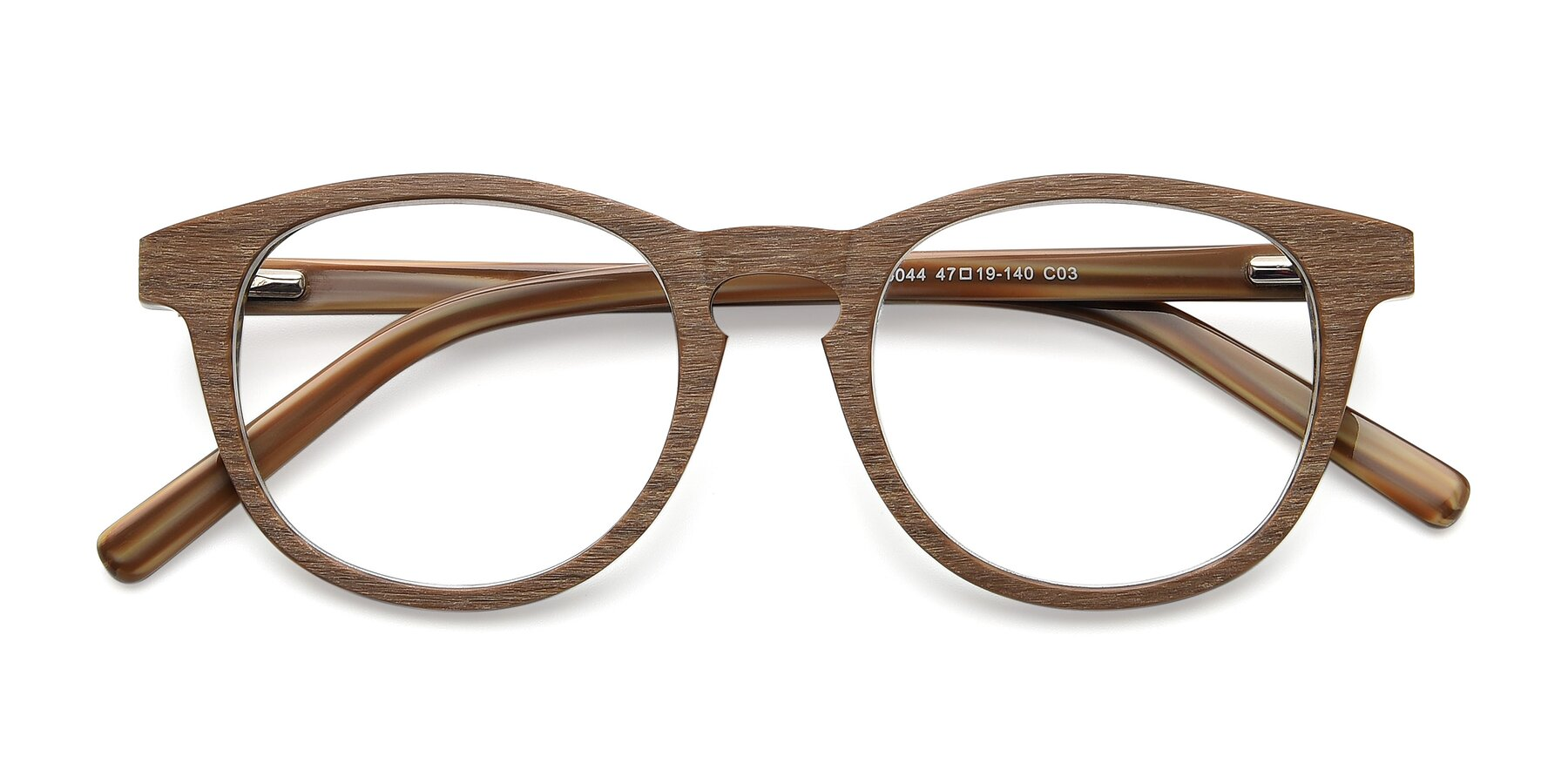 Folded Front of SR6044 in Brown-Wooden with Clear Eyeglass Lenses