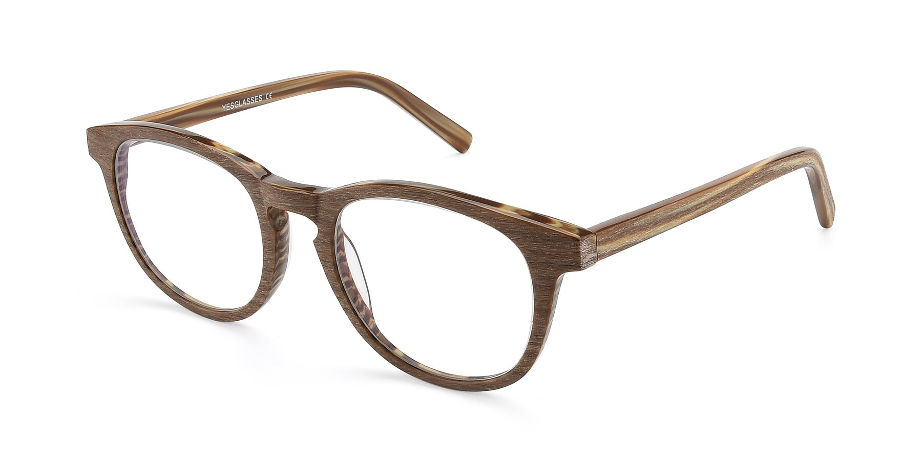 Angle of SR6044 in Brown-Wooden with Clear Eyeglass Lenses