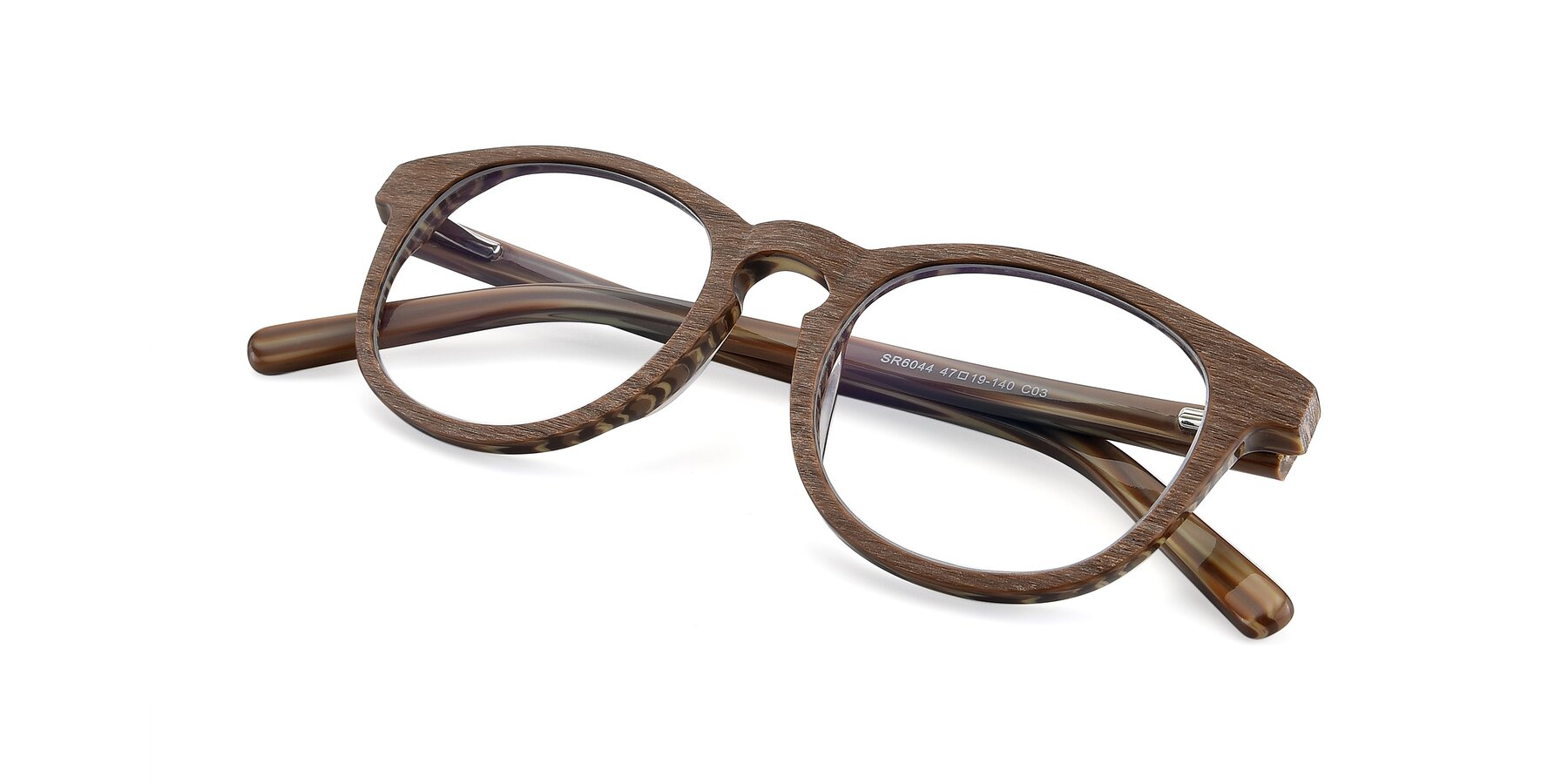 View of SR6044 in Brown-Wooden with Clear Eyeglass Lenses