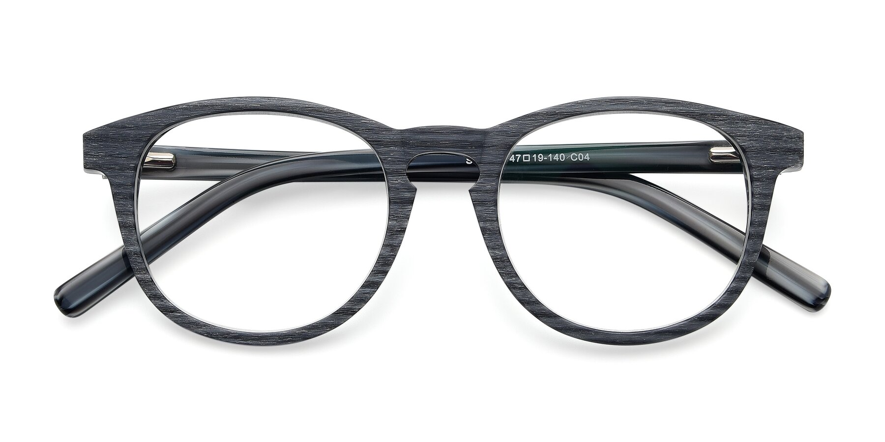 Folded Front of SR6044 in Gray-Wooden with Clear Blue Light Blocking Lenses