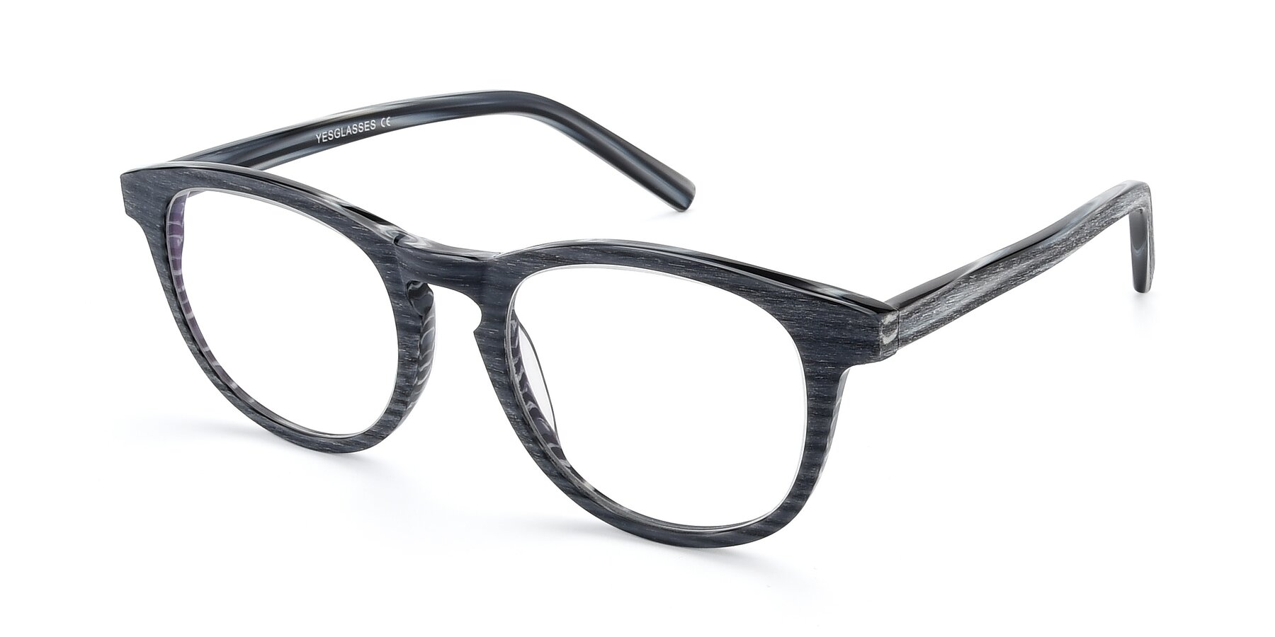 Angle of SR6044 in Gray-Wooden with Clear Blue Light Blocking Lenses