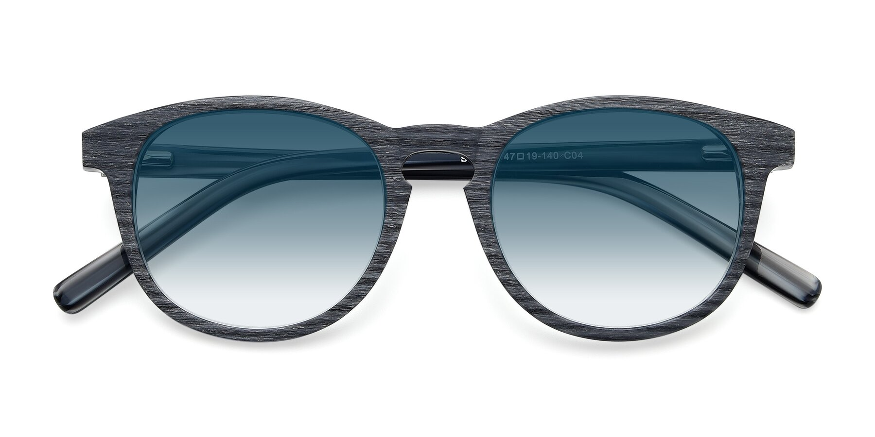 Folded Front of SR6044 in Gray-Wooden with Blue Gradient Lenses