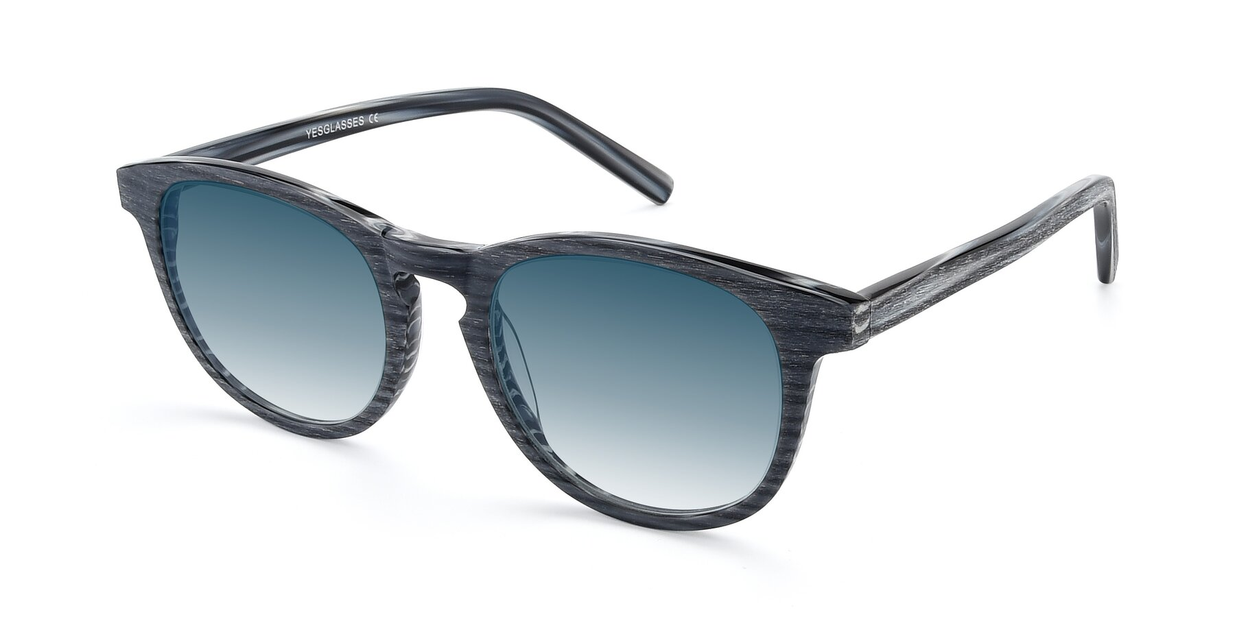 Angle of SR6044 in Gray-Wooden with Blue Gradient Lenses