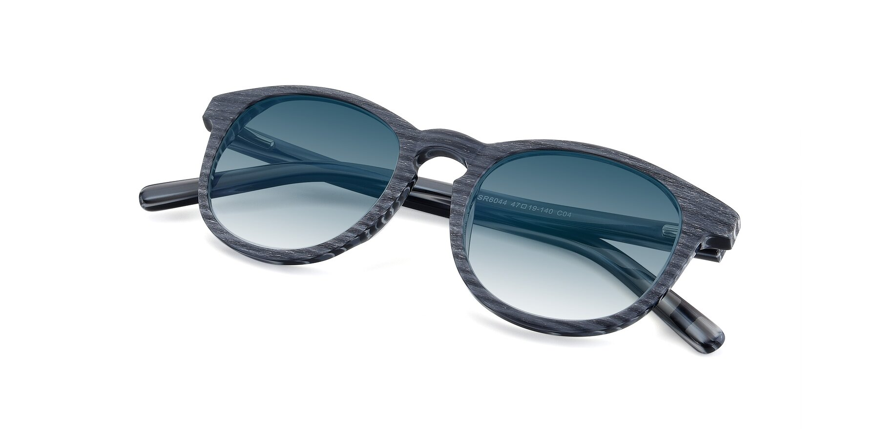 View of SR6044 in Gray-Wooden with Blue Gradient Lenses
