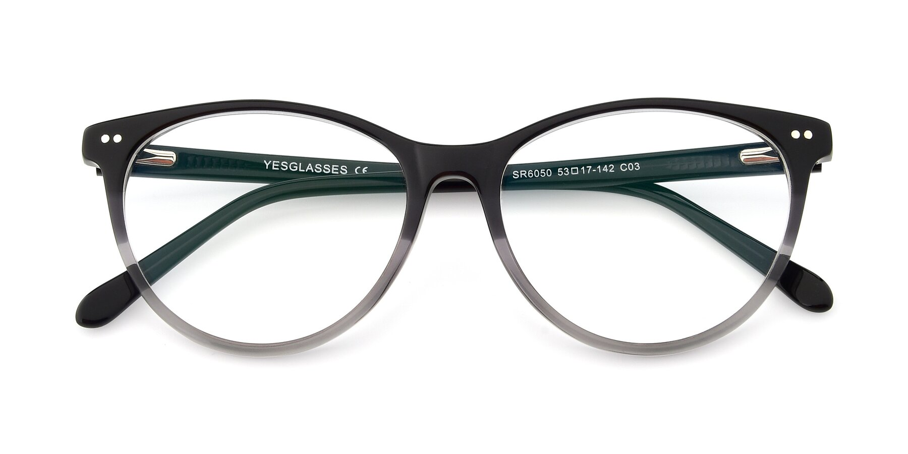Folded Front of SR6050 in Transparent Gradient Black with Clear Eyeglass Lenses