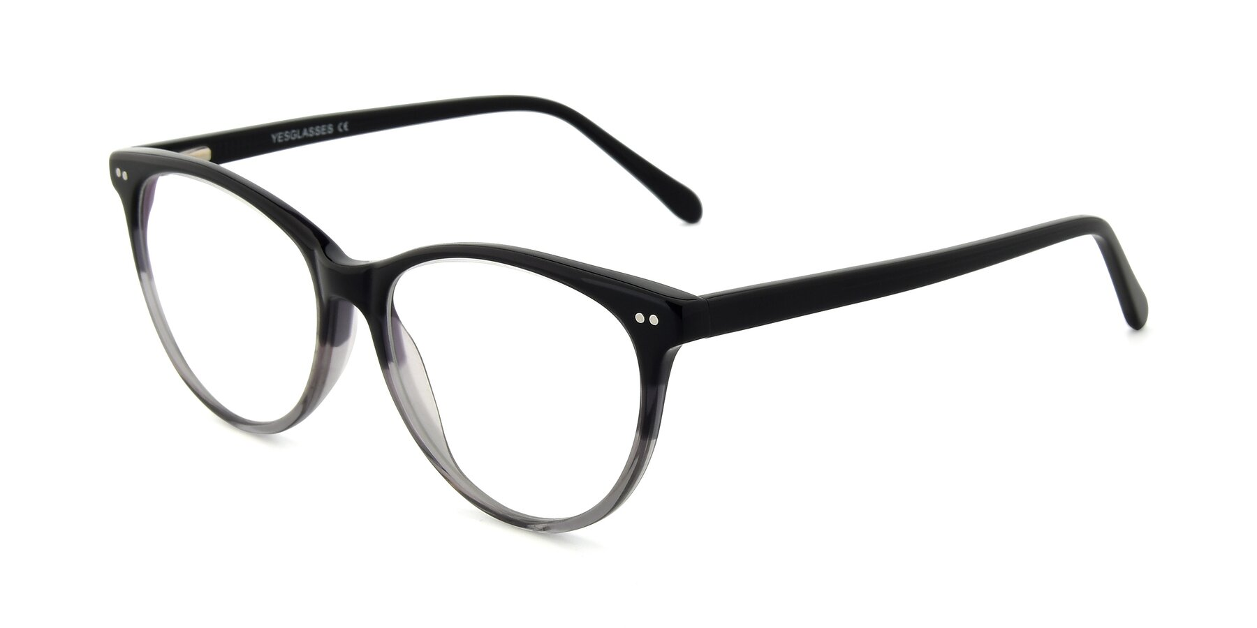 Angle of SR6050 in Transparent Gradient Black with Clear Eyeglass Lenses