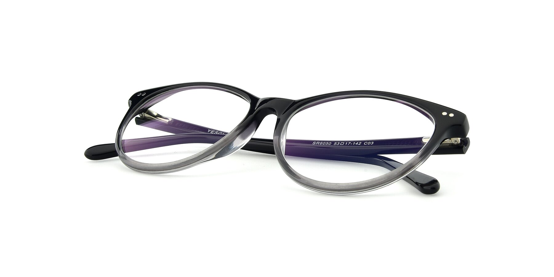 View of SR6050 in Transparent Gradient Black with Clear Eyeglass Lenses