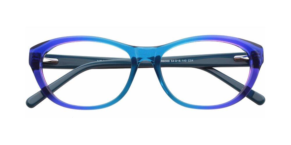 Transparent Gradient Turquoise Grandpa Acetate Butterfly Full-Rim Eyeglasses