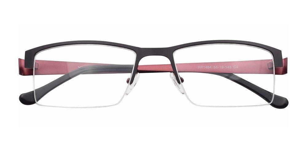 Black-Wine Lightweight Metal Rectangle Semi-Rimless Eyeglasses