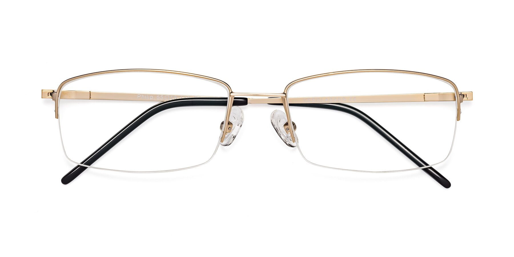 Folded Front of Philip in Gold with Clear Blue Light Blocking Lenses