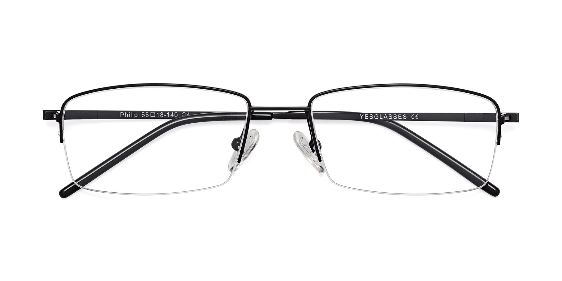 Folded Front of Philip in Black with Clear Blue Light Blocking Lenses