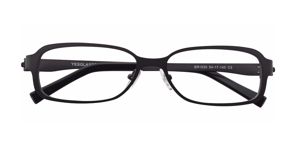 Gunmetal Wide Metal Rectangle Full-Rim Anti-Blue Light Glasses