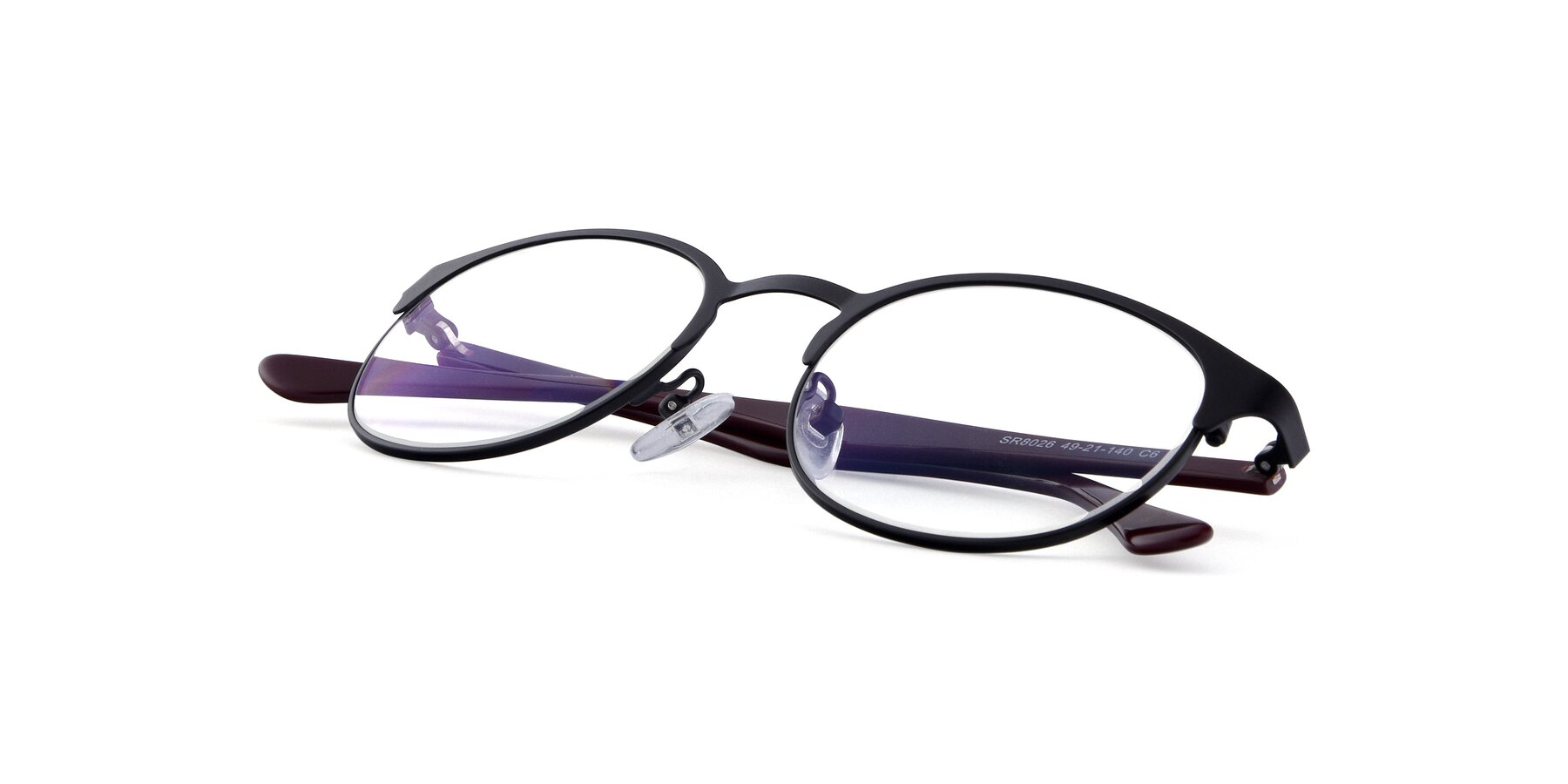 View of SR8026 in Black with Clear Blue Light Blocking Lenses