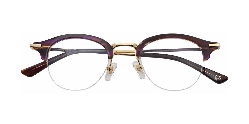 PurpleTortoise Metal Bridge Acetate Round Semi-Rimless Anti-Blue Light Glasses