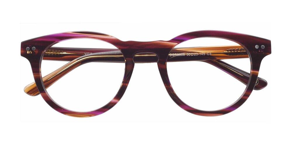 Stripeded Pruple Horn-Rimmed Geek-Chic Acetate Round Eyeglasses