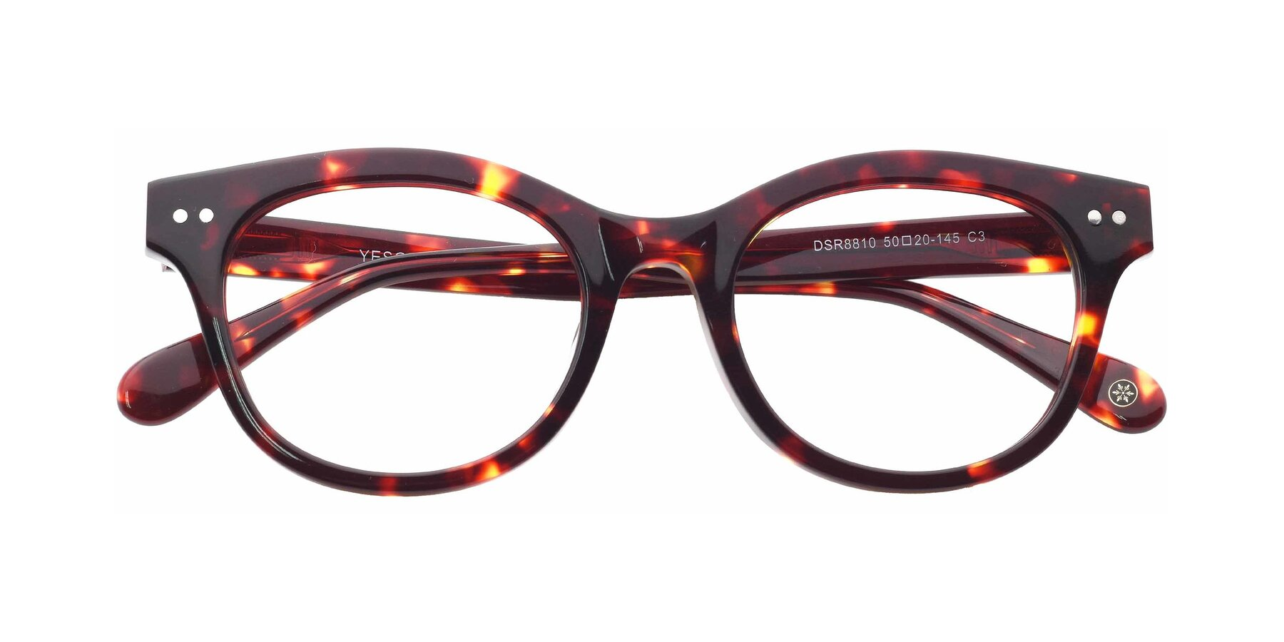 Folded Front of DSR8810 in Wine Tortoise with Clear Eyeglass Lenses