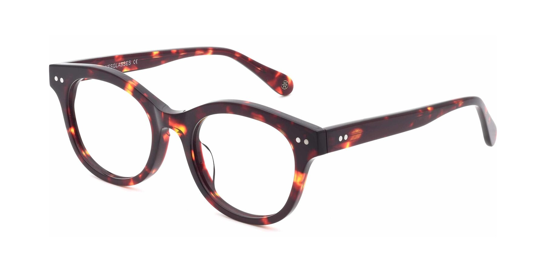 Angle of DSR8810 in Wine Tortoise with Clear Eyeglass Lenses