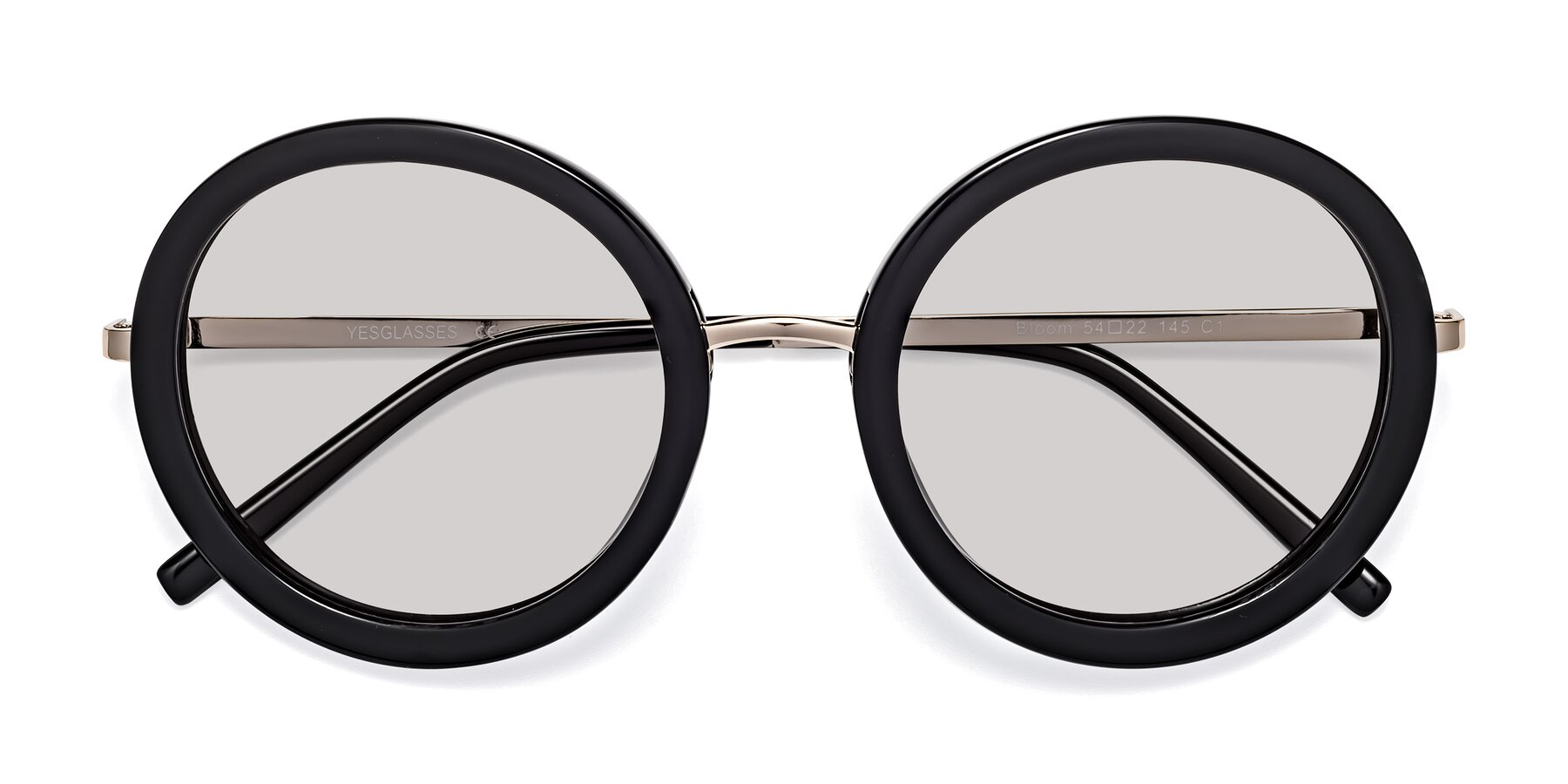 Folded Front of Bloom in Black with Light Gray Tinted Lenses