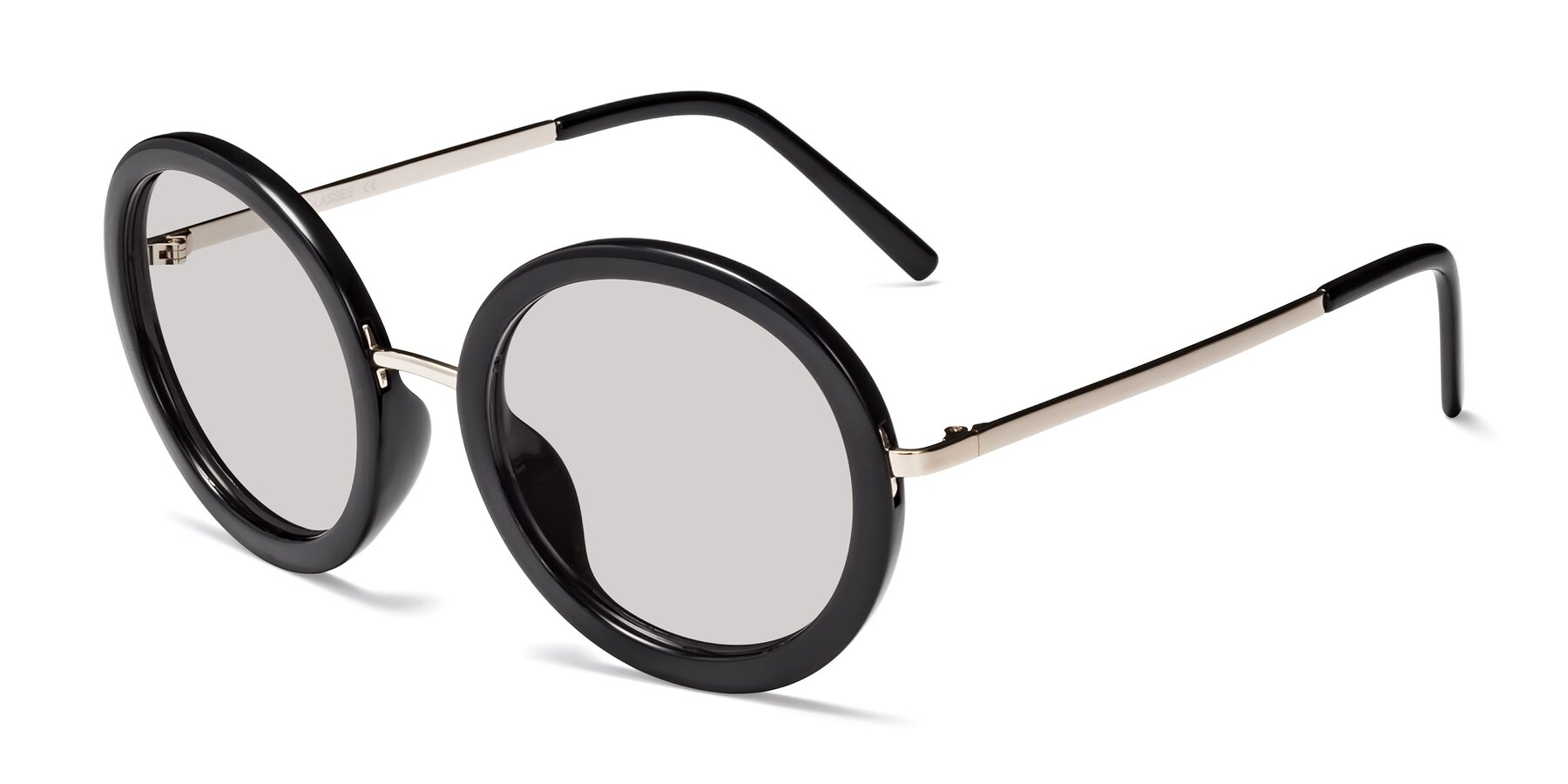 Angle of Bloom in Black with Light Gray Tinted Lenses