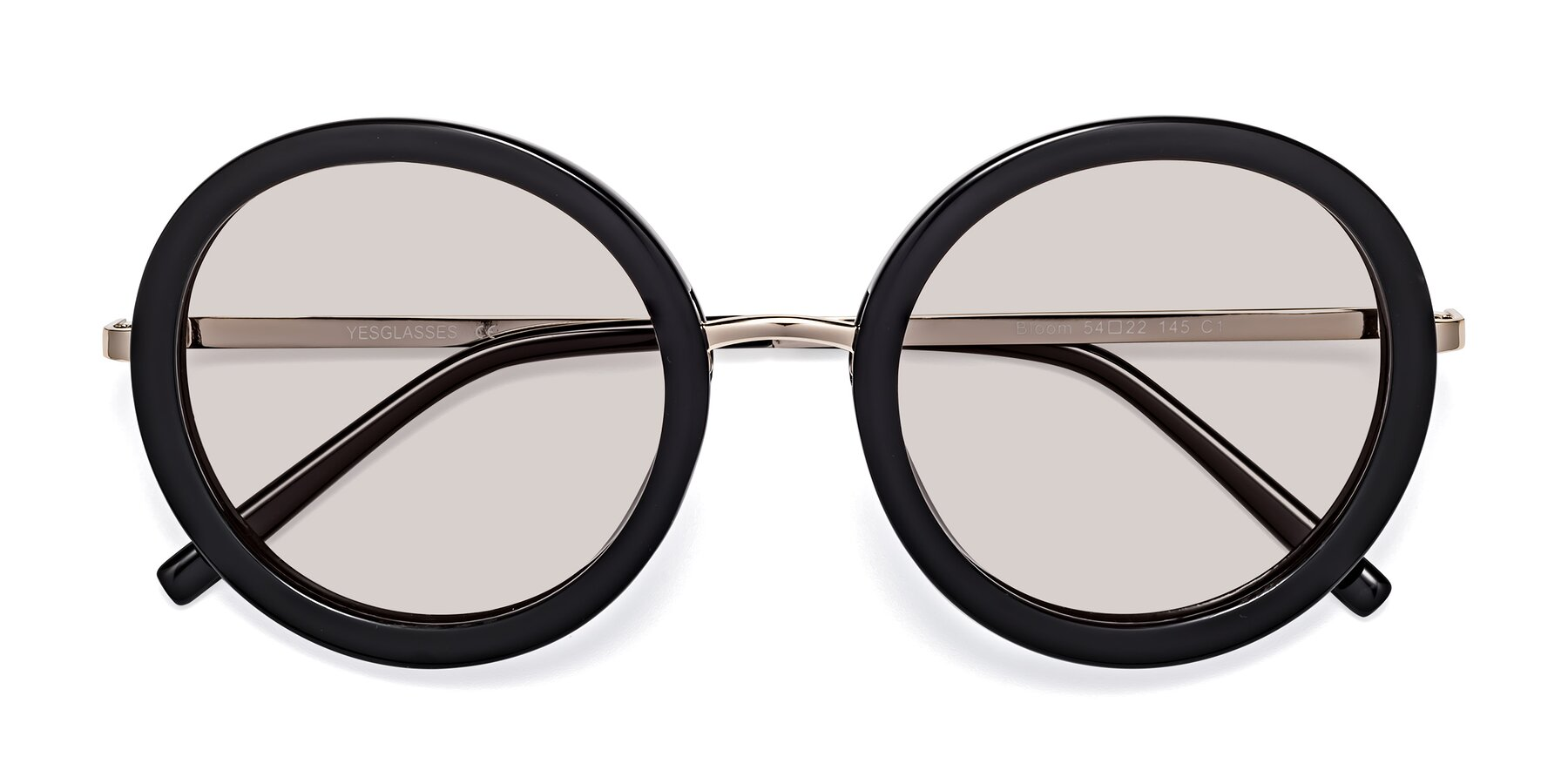 Folded Front of Bloom in Black with Light Brown Tinted Lenses