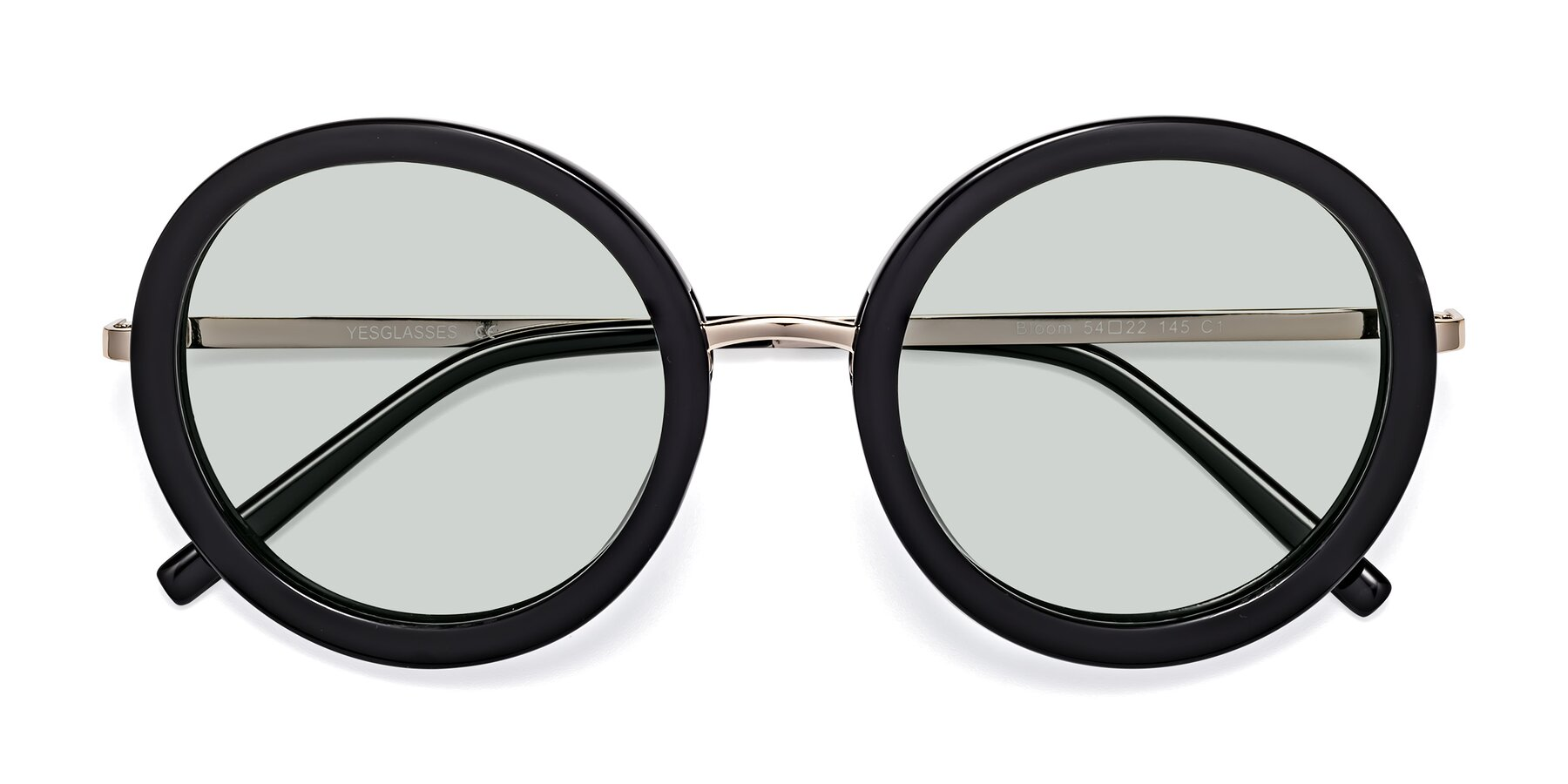 Folded Front of Bloom in Black with Light Green Tinted Lenses