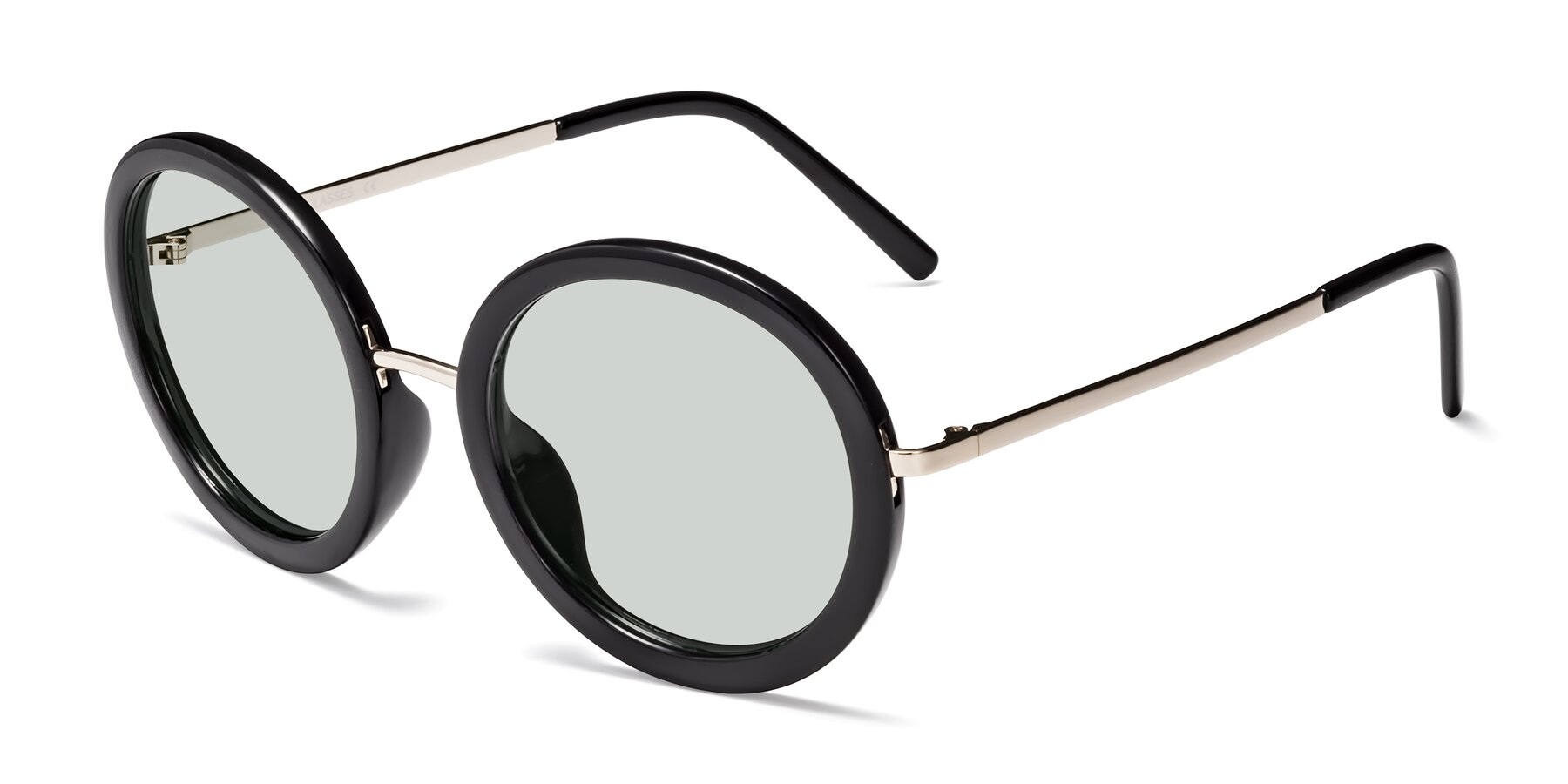 Angle of Bloom in Black with Light Green Tinted Lenses