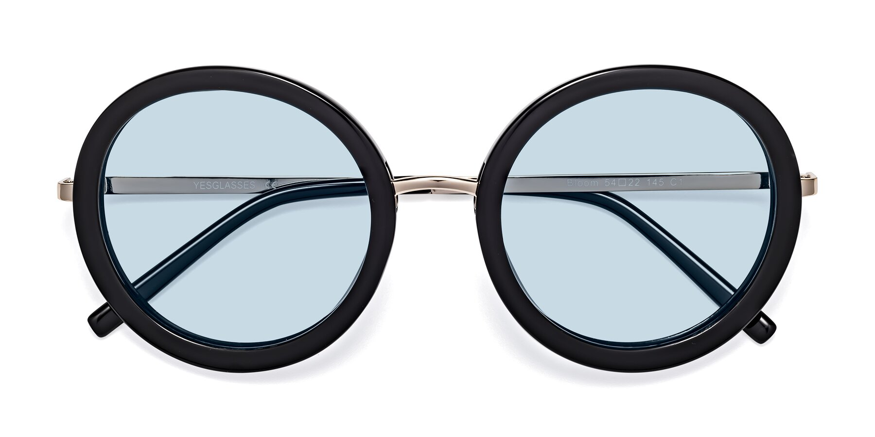 Folded Front of Bloom in Black with Light Blue Tinted Lenses