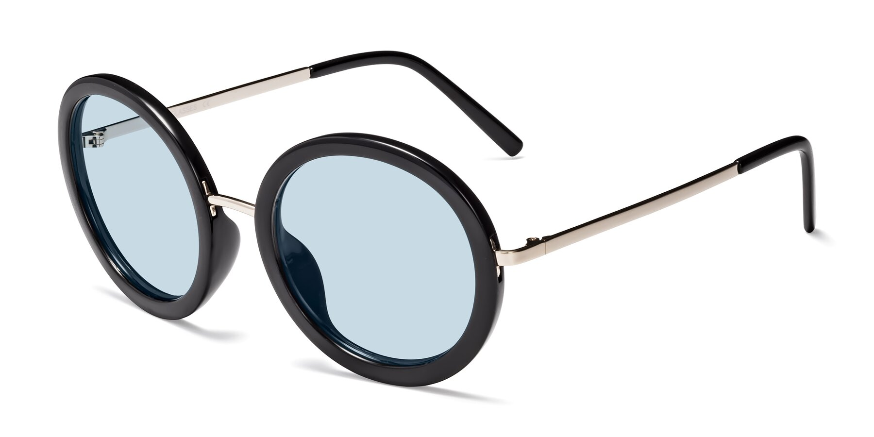 Angle of Bloom in Black with Light Blue Tinted Lenses