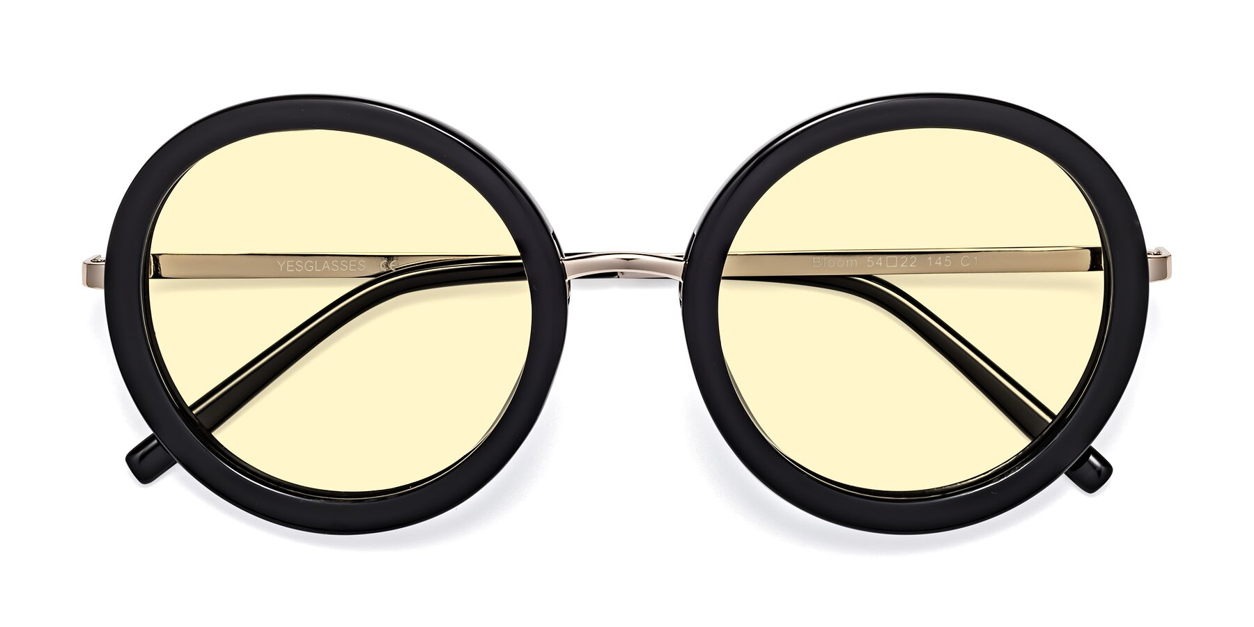 Folded Front of Bloom in Black with Light Yellow Tinted Lenses