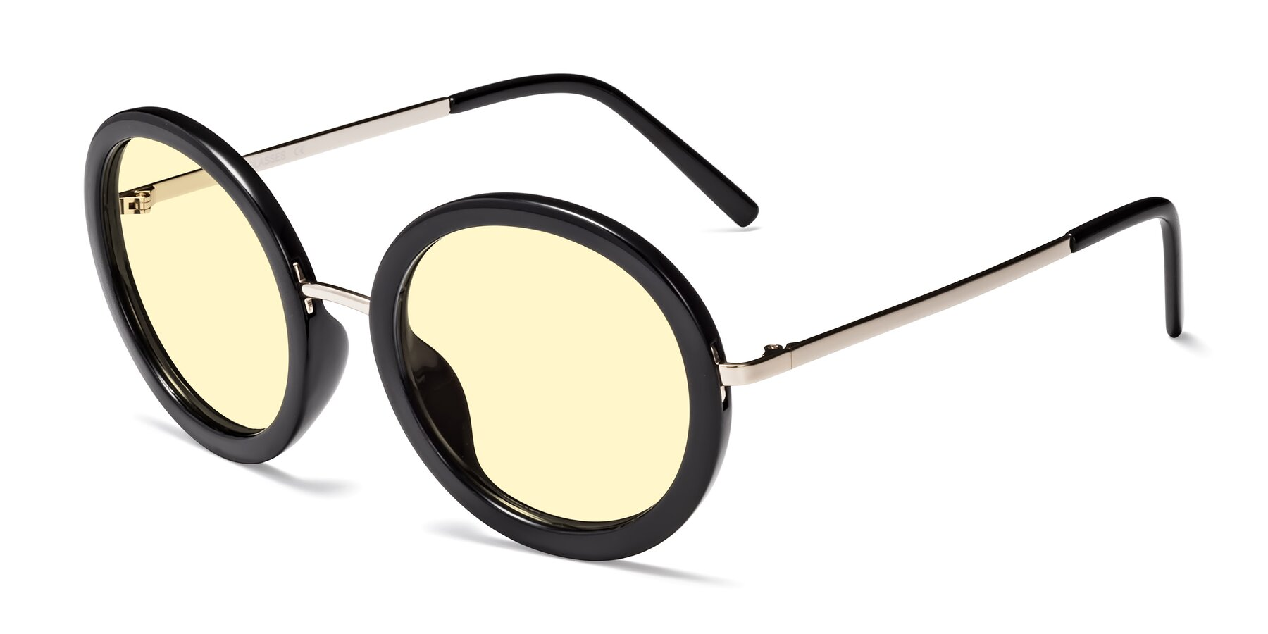 Angle of Bloom in Black with Light Yellow Tinted Lenses