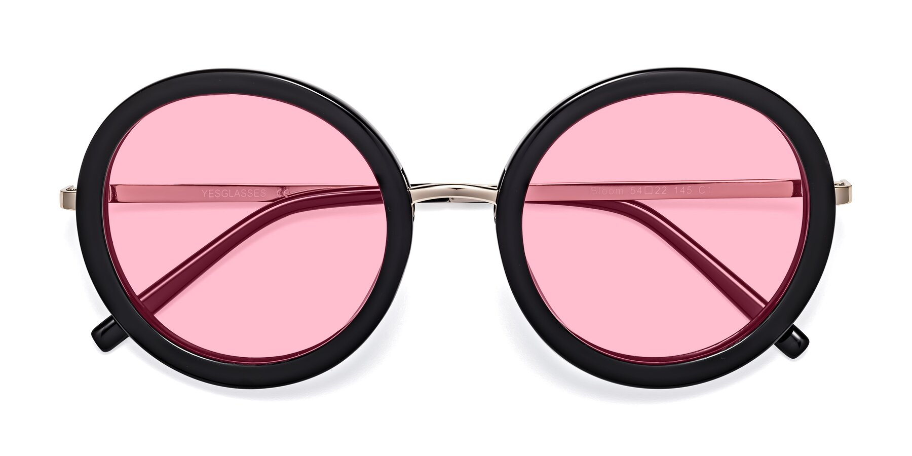 Folded Front of Bloom in Black with Medium Pink Tinted Lenses
